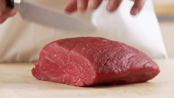 Veal shoulder being sliced Royalty-free stock video