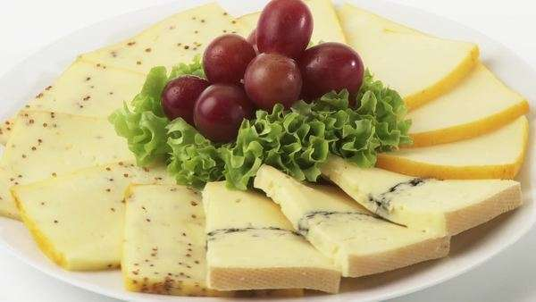 Cheese plate with grapes Royalty-free stock video