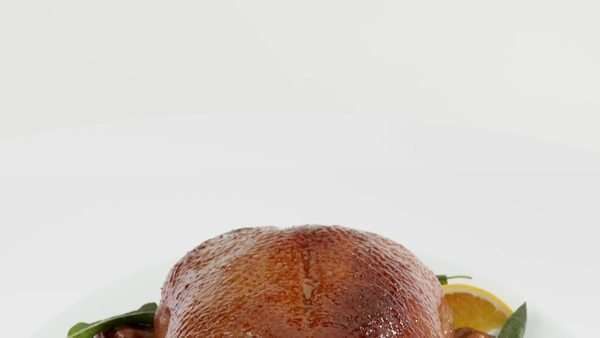Roast duck with broccoli and oranges Royalty-free stock video
