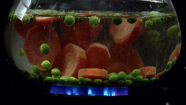 Peas and carrot slices simmering over a low heat Royalty-free stock video