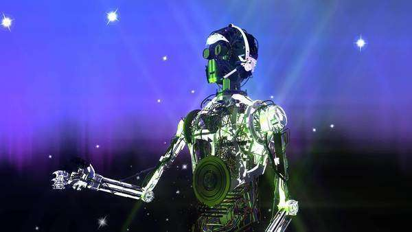Animation of a robot with stars Royalty-free stock video