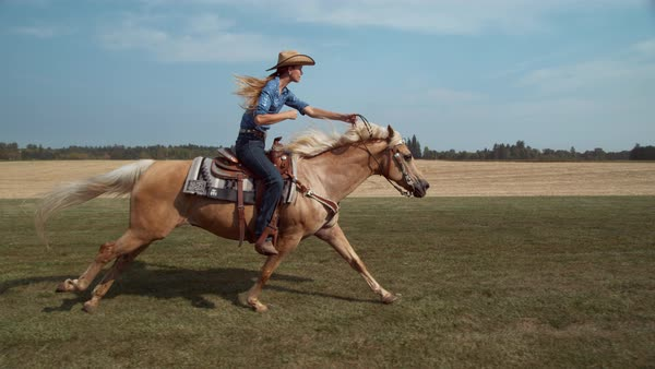Woman horseback riding in super slow motion Royalty-free stock video
