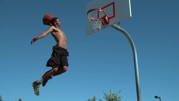 Super slow motion shot of basketball basketball slam dunk Royalty-free stock video