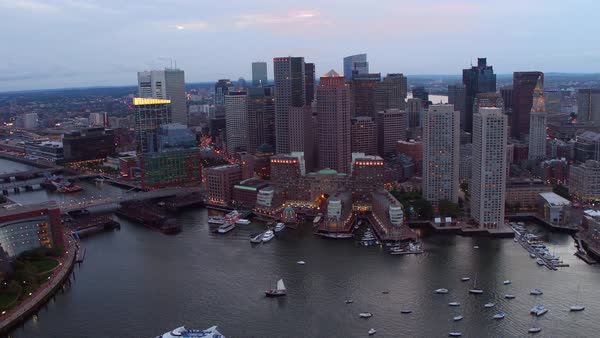 Aerial view of downtown Boston, Massachusetts at dusk Royalty-free stock video