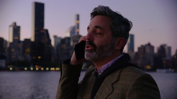 Man in New York City talking on cell phone Royalty-free stock video