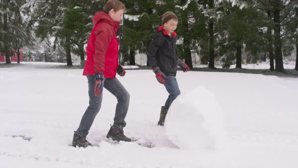 Two boys rolling a snow ball in winter Royalty-free stock video