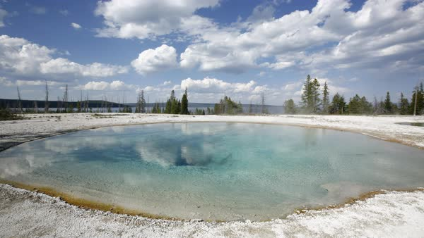 Timelapse shot of hot spring in Yellowstone National Park Royalty-free stock video