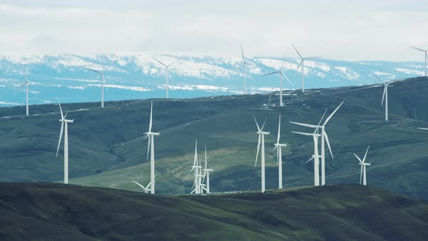 Aerial view of wind turbines on hills Royalty-free stock video