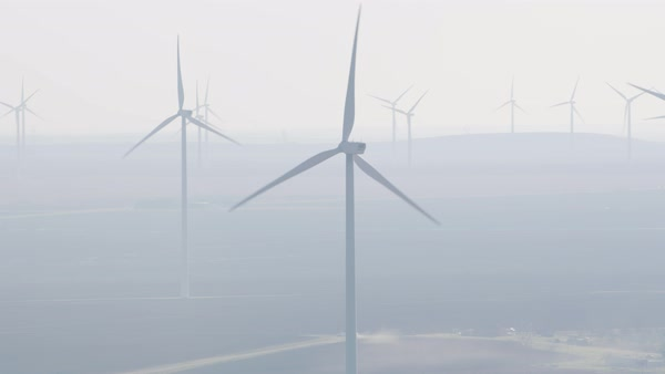 Aerial view of wind turbines in the fog Royalty-free stock video