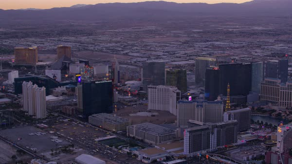 Wide angle aerial view of Las Vegas Strip at sunset.   Royalty-free stock video