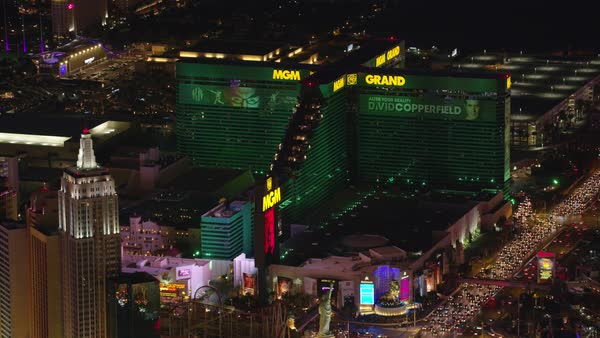 Aerial view of the MGM Grand hotel and casino.   Royalty-free stock video
