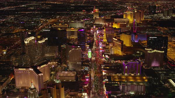 Flying over Las Vegas Strip at night.   Royalty-free stock video