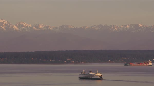 Aerial view of ferry and ships in Puget Sound.   Royalty-free stock video
