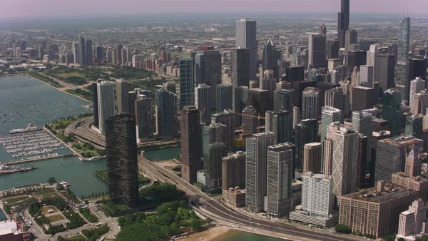 Daytime aerial shot of downtown Chicago. Royalty-free stock video