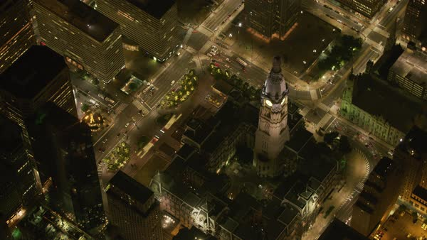 Aerial view of Philadelphia City Hall at night.   Royalty-free stock video