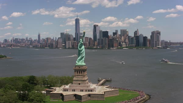Flying by Statue of Liberty towards Manhattan.   Royalty-free stock video
