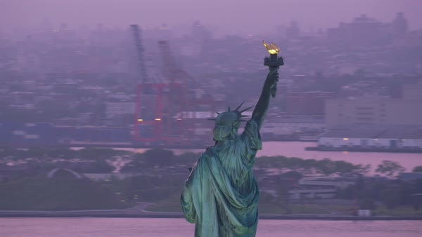 Statue of Liberty with early morning pink sunrise.   Royalty-free stock video