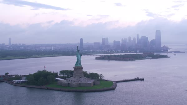 High angle approach and fly over Statue of Liberty.   Royalty-free stock video