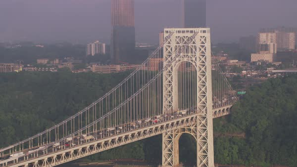 Aerial view of George Washington Bridge along the Hudson River.    Royalty-free stock video
