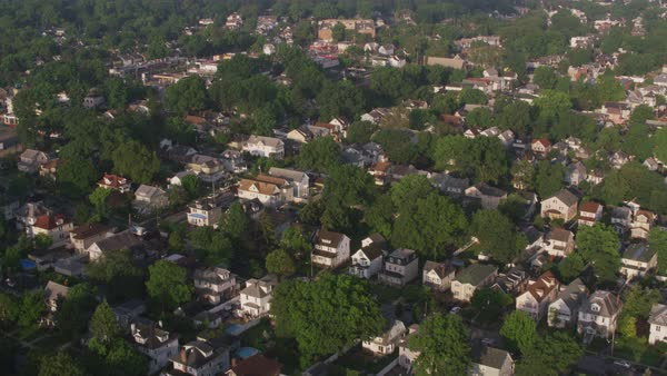 Aerial view of neighborhood near Elizabeth New Jersey.    Royalty-free stock video