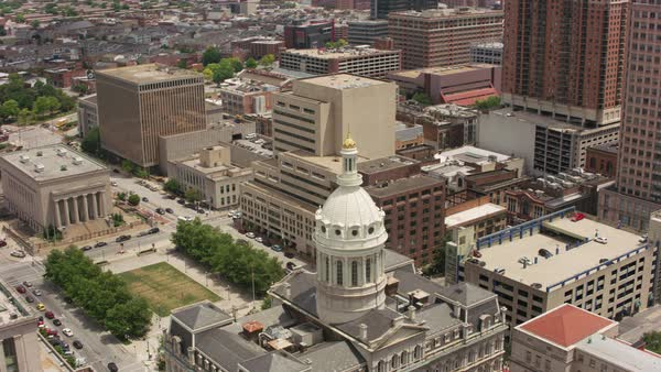 Aerial view of Baltimore City Hall.   Royalty-free stock video