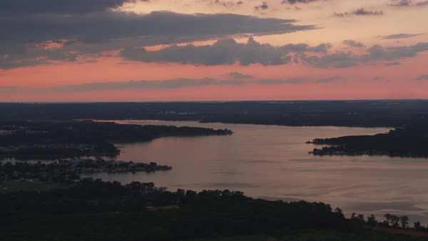 Aerial view of Chesapeake Bay at sunset.   Royalty-free stock video