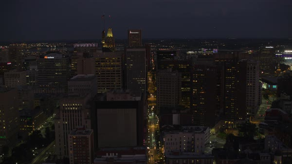 Aerial view of downtown Baltimore at night.   Royalty-free stock video