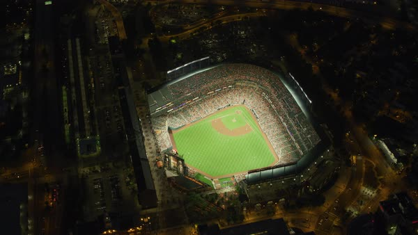 Aerial view of Oriole Park at night during baseball game.   Royalty-free stock video