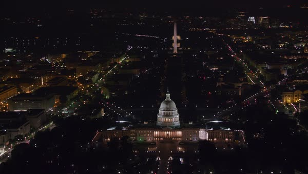 Aerial view of the United States Capitol building and Mall area at night.   Royalty-free stock video