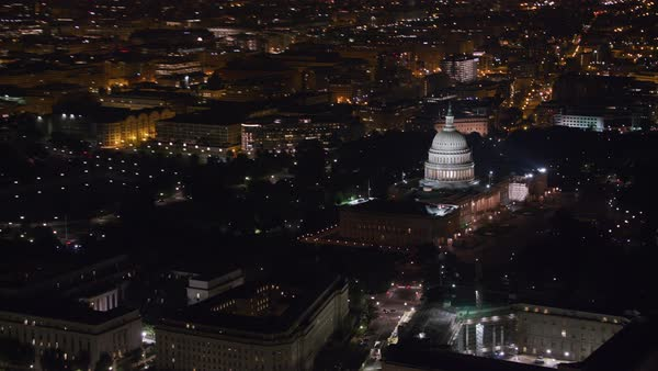 Aerial view of Washington D.C. and the United States Capitol building at night.   Royalty-free stock video