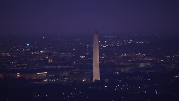 Aerial view of the Washington Monument in the early morning.    Royalty-free stock video