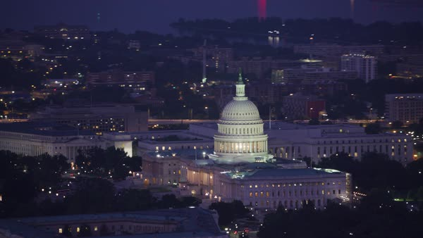 Aerial view of the United States Capitol building at dawn.   Royalty-free stock video