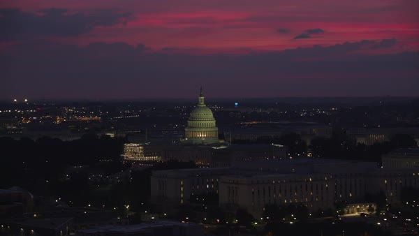 Aerial view of the United States Capitol building at sunrise.   Royalty-free stock video