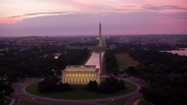 Flying past Lincoln Memorial at sunrise.   Royalty-free stock video