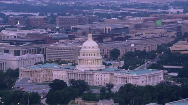 Aerial view of Capitol Building and National Mall.   Royalty-free stock video