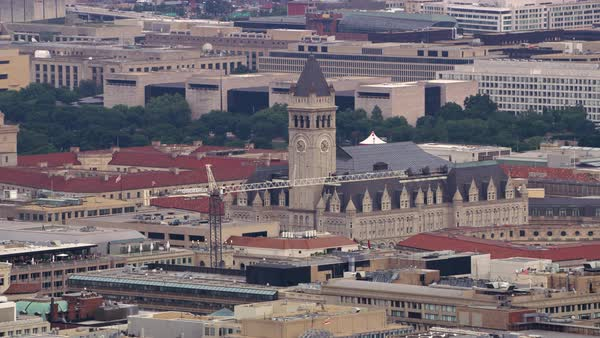 Aerial view of Old Post Office Pavilion.   Royalty-free stock video