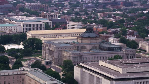 Aerial view of the Library of Congress.   Royalty-free stock video