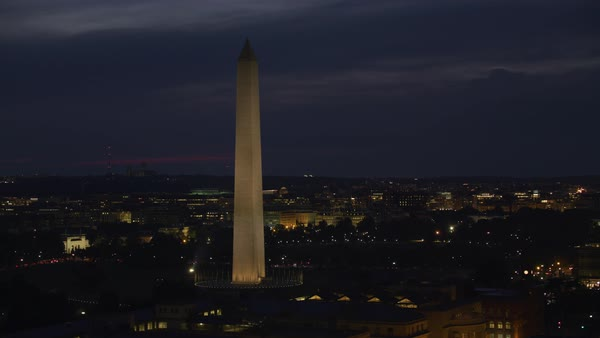 Night aerial view of Washington Monument.   Royalty-free stock video
