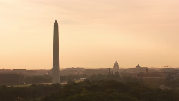 Aerial view of sunrise over Washington D.C.   Royalty-free stock video
