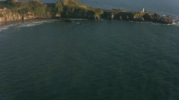 Aerial shot of Yaquina Head Lighthouse.   Royalty-free stock video
