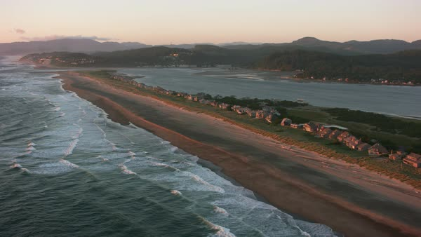 Aerial shot of the Salishan Spit along the Oregon Coast.   Royalty-free stock video