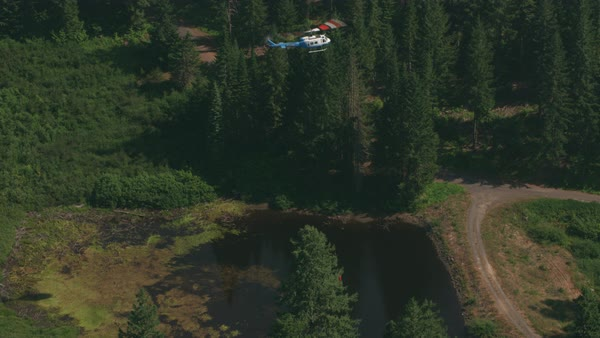 Aerial shot of helicopter getting water from pond to fight forest fire.   Royalty-free stock video