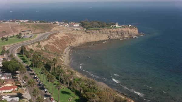 Aerial shot of Point Vicente Lighthouse.   Royalty-free stock video
