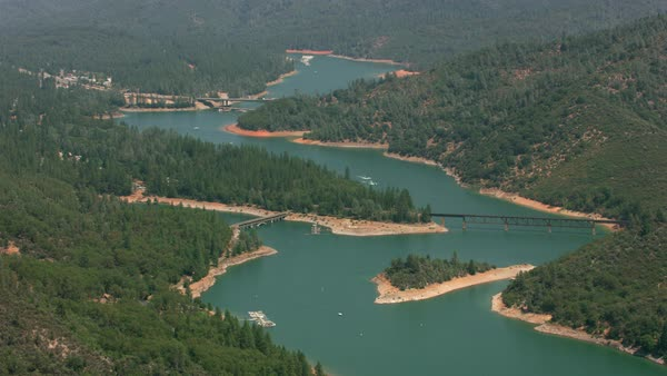 Aerial view of Shasta Lake in Northern California.   Royalty-free stock video