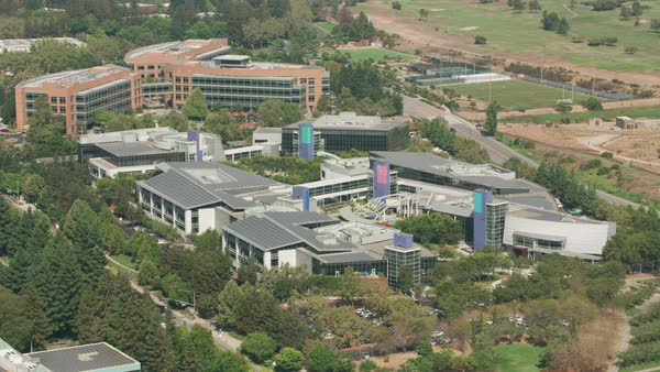 Aerial shot of Googleplex, Google's global headquarters.   Royalty-free stock video
