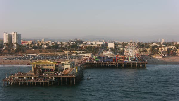 Aerial shot of the Santa Monica Pier.   Royalty-free stock video