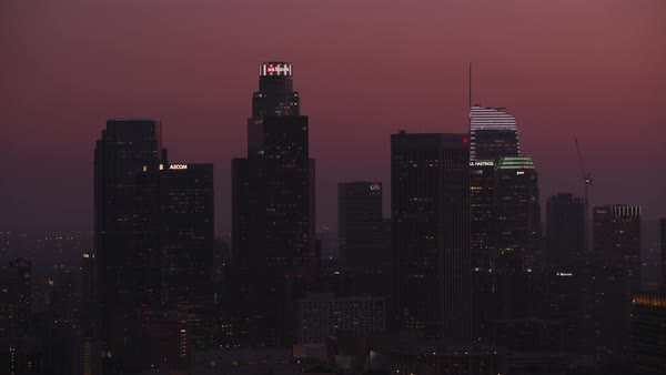 Downtown Los Angeles skyscrapers at dusk.   Royalty-free stock video