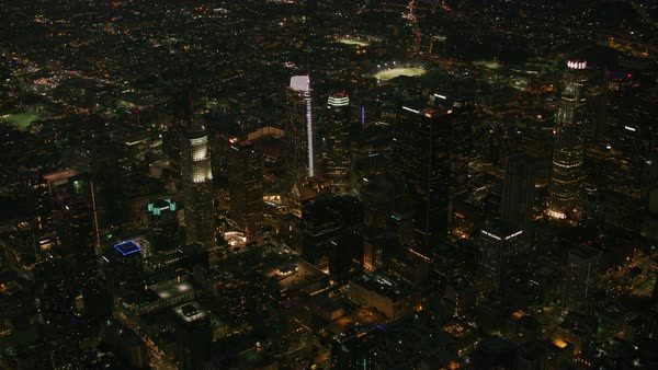High angle aerial view of Los Angeles at night.   Royalty-free stock video