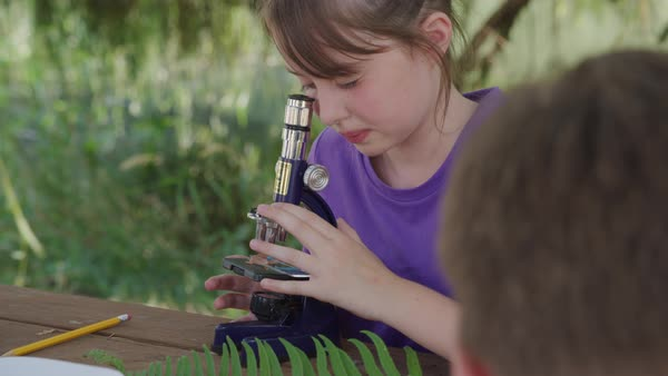 Girl at outdoor school looking through microscope Royalty-free stock video