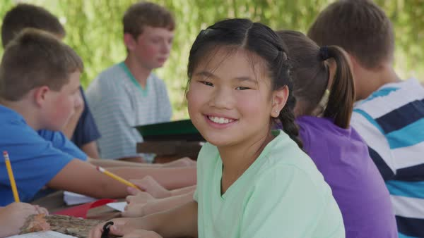 Portrait of girl at outdoor school Royalty-free stock video